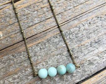 Amazonite and Bronze Stone Fox handmade high quality crystal necklace