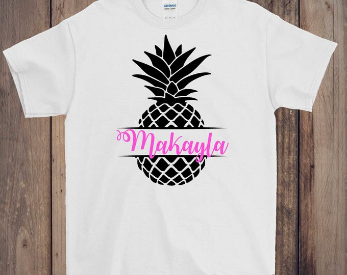 Pineapple Monogram vinyl T-shirts Customize Short sleeve