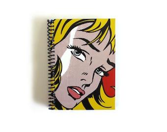 Pop Art Girl Notebook A6 Spiral Bound - Girl and Hair Ribbon, Pocket Journal, Blank Sketchbook, Writing, Blank, Draft, Paper, Gifts Under 20
