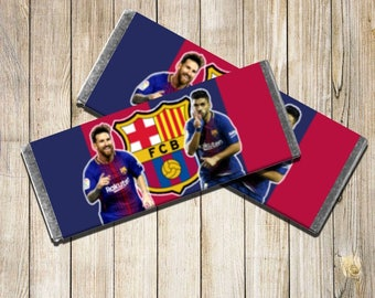 FC Barcelona Chocolate Bar Wrappers | Cute Wrappers for Birthdays | 12 Pack