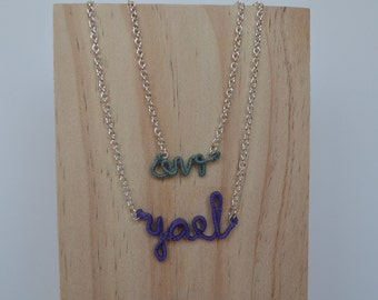 Personalized thread wrapped wire name necklace.  Two names