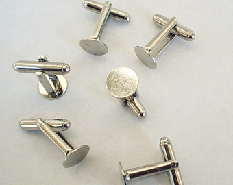 20 Cuff Links with Glue Pad  10 mm Silver Tone