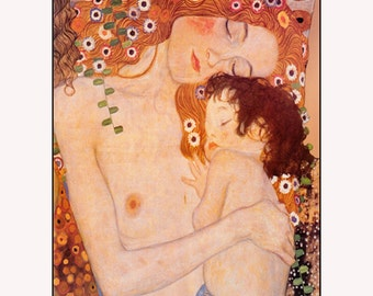 "by Gustav Klimt - Mother And Child 1905, art deco art, antique art, canvas art print, Maternal, motherhood art, N 11x14"" Canvas art print"