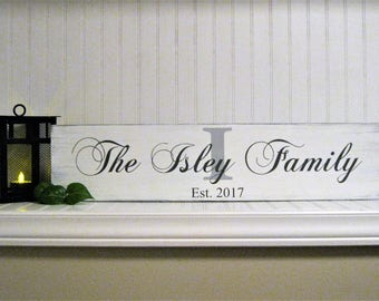 "Family name wood sign, Personalized, Dated  sign, Rustic farmhouse sign 5.5"" x 24"""
