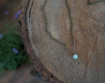 Blue Amazonite & Hammered Antique Bronze Necklace