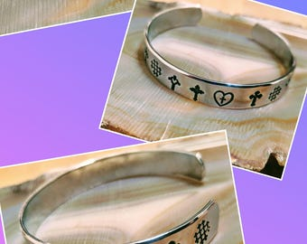 Silver Crosses hand stamped and polished aluminum cuff bracelet adjustable size