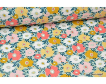 Fabric cotton printed Cretonne Camille Mint flowers
