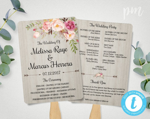 Diy Wedding Program Fan Template Bohemian Floral Wedding