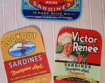 3 Vintage Sardine Can Labels 1930s 1940s Fish Boat Chef