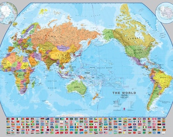 Political world map etsy world pacific centered wall map fully laminated political map wall hanging living gumiabroncs Gallery
