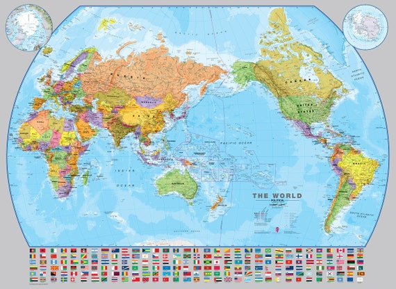 World pacific centered wall map fully laminated political gumiabroncs Choice Image