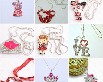 9 different Rhinestone Valentines Day Chunky Pendant Necklaces - Heart, Hello Kitty, Peppa Pig, LOVE, Minnie Mouse, Crown