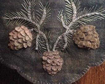 "Pattern: Wool Applique ""Pinecones"" Table Mat Pattern by Cricket Street Wool"