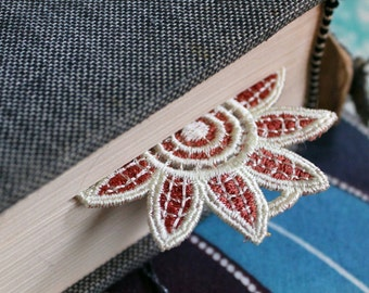 Sunflower Bookmark Brown Embroidery