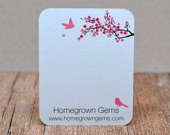 Customized Jewelry Display Cards - Earring Cards Cherry Blossom Pink Flower Birds Tree - 00211