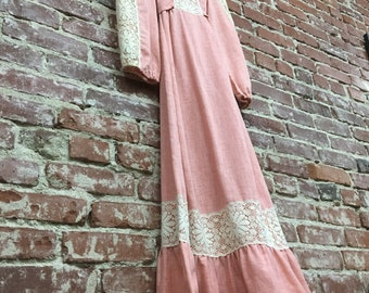 Vintage Seventies Cotton and Lace Victorian Gown. Dusty Rose. Size Small to Medium