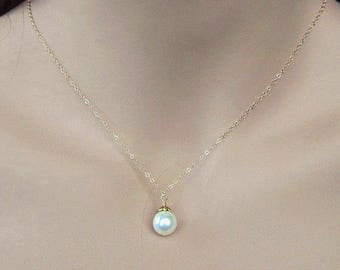 Single Pearl Gold Necklace, 14K Gold Necklace, Floating Pearl Necklace Gold and Pearl Bridal Necklace, Solitaire Pearl Simple Pearl Necklace