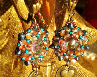 Hand Crafted Drop Earrings Swarovski Crystals with Antique Gold Findings