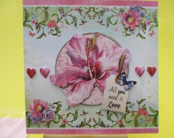 Card 3D (relief) hibiscus pink butterfly and hearts