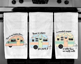 Happy Camper Kitchen Towels/Vintage Camper/Terrycloth Towels/Vintage Camping/Camping gift/RV/Motor Home/Motor Coach/Retirement gift/
