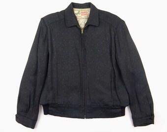 1950s Vintage paddle saddle / Dot & Fleck Pattern / SERVAL Zipper / Inner Cotton / Grayish Black Gabardine Jacket / Size 40- Excellent