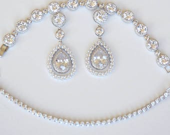 Cubic Zirconia Solitaire Pear Drop Earrings Bezel Setting Choker Necklace Uber Glam Chic Cocktail Jewelry Best Bridal Jewelry Set