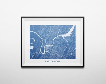 Chattanooga, Tennessee Abstract Street Map Print
