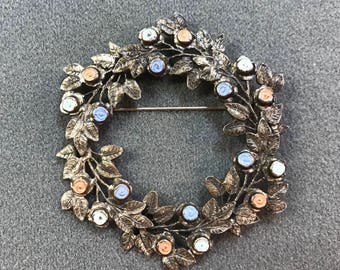 Vintage Floral Wreath Brooch-C Clasp. Free shipping