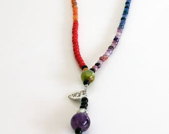 Seven Chakras Japa mala Necklace made of mixed gemstones - Healing Jewelry - Chakra Jewelry - Yoga, Meditation, Mantra