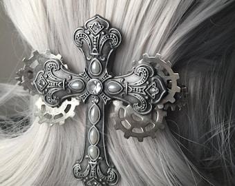 Costume Hair Gothic Cross French Hair Barrette 80mm - Steampunk Hair Accessories - Cross Hair Clip - Religious Jewelry - 80mm Hair Clip