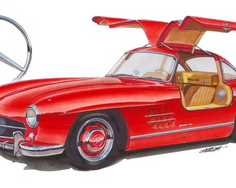Mercedes 300SL 12x24 inch Art Print by Jim Gerdom