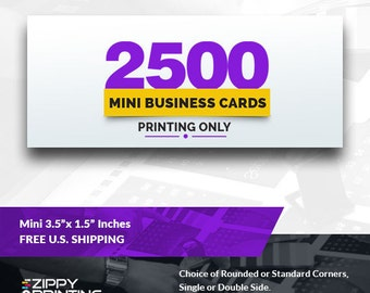 """2500 Mini Business Cards 3.5"""" x 1.5"""" , Mini Business Cards Printing Rounded Corners, Matte or Glossy"""