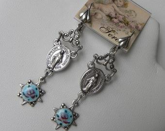 Rosary Earrings Religious Saint Virgin Mary Saint Regina Italian Rosary Earrings Catholic Earrings Guilloche Religious Gift ©2018DMJameson