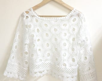 Embroidered lace  white blouse short cropped style s/m