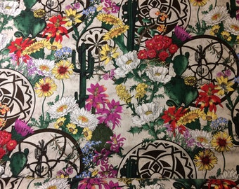Fabric Southwest Beauties Desert Cactus Landscape Native American Pottary Green Tan 100% Cotton Quilt Eustheelf By The 1/2 yard BT