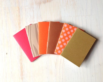 Small Notebooks: 6 Tiny Journals Set, Autumn, Orange, Brown, Fall Colors, Party Favors, Wedding, Journals, Jotters, Mini Journals, Small