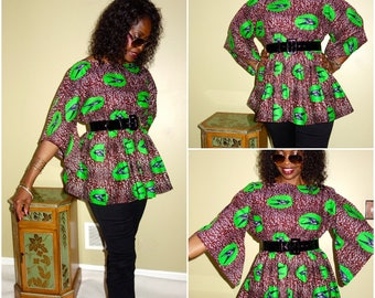 Tops for Women, Peplum Top, African Top, African Clothing, African  Prints, Dashiki Top, African Plus Size, Batik,  Women Gifts, Bell Sleeve