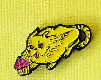 Trash Kitty Cat with a Cupcake Enamel Pin -