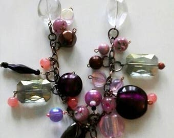 lovely glass bead necklace shades of plum and pink and ice