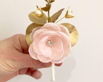 Blush gold men wedding pale pink boutonniere rustic boutonniere groomsmen accessory handmade golden eucalyptus button hole, hair flower