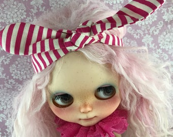 Blythe Short Romper - with overskirt and Head Tie - spots and stripes