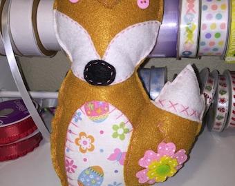Pink Flower Felt Easter Fox Plushie