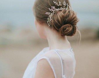 Bridal Hair Pins Rose Quartz Hair Pin Bridal Hairpin Bridesmaid Hair Clip Bridal Hair Adornment Hair Pins Rose Crystal Hair Pins ONE PIN