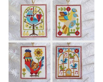 12 Days of Christmas ornaments and sampler - Satsuma Street modern cross stitch pattern PDF - Instant download
