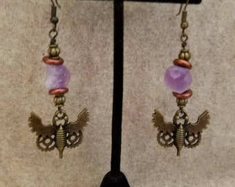 Streampunk Bees Dangle Earrings with Amethyst Stones