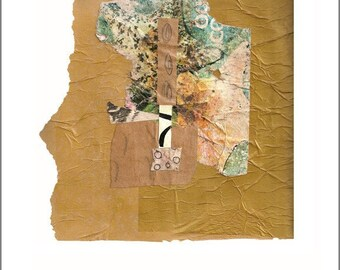 Recovered - Original Collage with Weathered and Hand Painted Papers 8 x 8 on 11 x 14 Backing