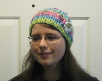 Riverbed Lace Spring Colors Hand Knit Hat with Flower