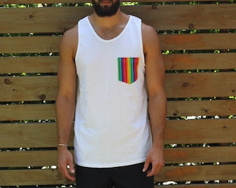 White Gay Pride Rainbow Tank