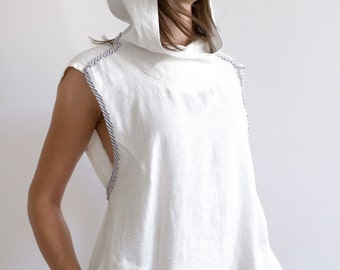 Hooded Linen Summer Top with Pockets