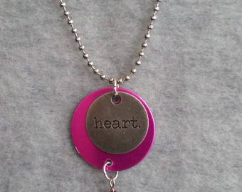 """Heart Message Necklace, layered fuschia and silver metal disks, red crystal dangle, 26"""" ball chain, circle pendant, lightweight necklace"""